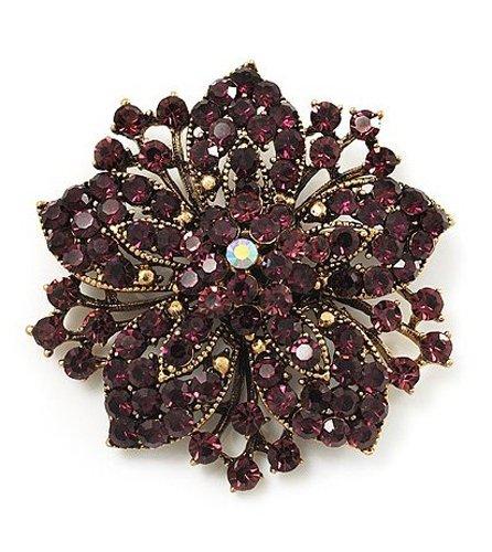& Vintage, oro anticato, con strass, motivo floreale, colore: viola scuro, a forma di spilla BR149