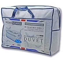 Homescapes Edredón Confort relleno nórdico Plumón de pato para una cama de 90 con una densidad de 550gm²