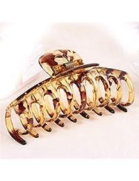 XIAOBAI Clip vertical, pinza para el cabello, accesorio para el cabello, joyería, plástico, grande 110mm * 50mm, marrón
