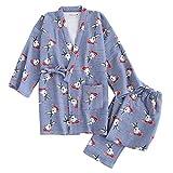 Frauen Winter Kimono Pyjamas Anzug Dicker warme Winter japanische Art Roben Blue Rabbit