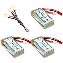 HOBBYTIGER 3 Piezas MJX X101 Lipo Batería 7.4V 1200mAh 30C + 3 en 1 cable de carga