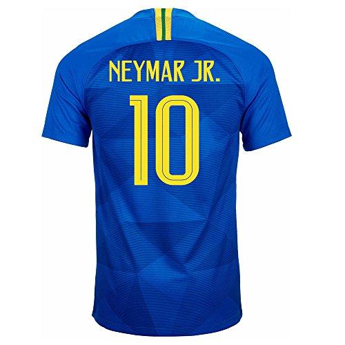 Nike Neymar Jr. # 10 Brasil CBF - Camiseta de fútbol para Hombre, Temporada 2018, Copa del Mundo 2018, Large, Soar/Midwest Gold