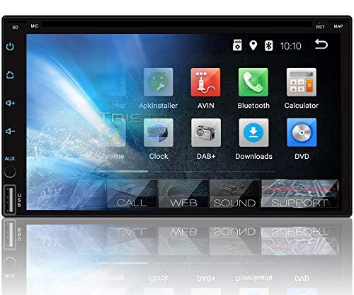 Tristan Auron BT2D7018A-DVD Android 9.0 Autoradio mit Navi I 7\'\' Touchscreen Monitor I Bluetooth Freisprecheinrichtung I Quad Core CD DVD GPS USB SD OBD 2 DAB+ fähig - Doppel Din