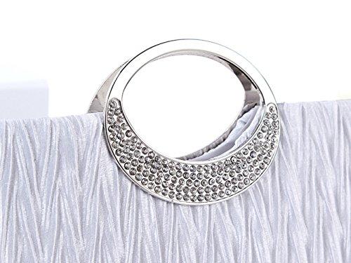 sallyshiny Strass Satin Damen Handtasche Clutch Party Bridal Hochzeit Taschen Geldbörse Weiß
