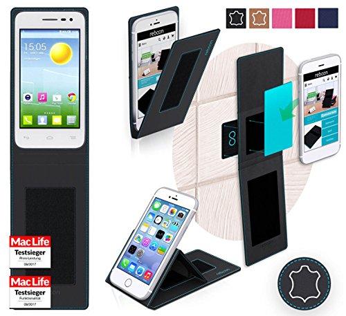 reboon Hülle für Alcatel OneTouch Pop S3 Tasche Cover Case Bumper | Schwarz Leder | Testsieger