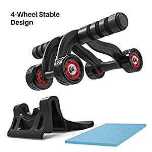 Ab Roller - Amarey 4 Wheels Ab Wheel Abdominal Exercise Abdominal Muscle Trainer Fitness Wheel with Knee Pad Mat & Brake Plate Fitness Training Equipment for Home Gym Workout