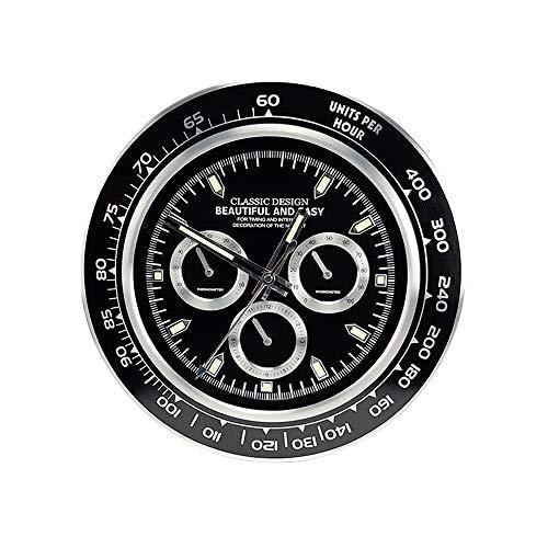 Buystar orologio da parete, tipo rolex, modello daytona, in metallo, decorazione per casa,ufficio, ristorante, hotel, orologio da muro 34 cm