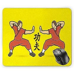 Kung Fu-Mausunterlage, Karate-Entwurf mit japanischen Symbolen und Cartoon-Ikonen gelbes Dunkles Lachsgrün Brown und Pfirsich-Mausunterlage