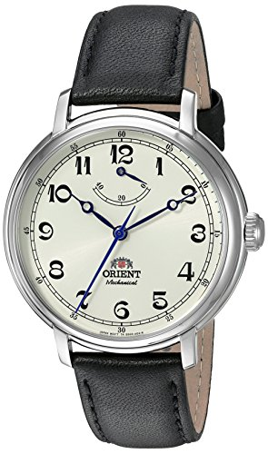 Orient Men's 'Monarch' Mechanical Hand Wind Stainless Steel and Leather Dress Watch, Color:Black (Model: FDD03003Y0)
