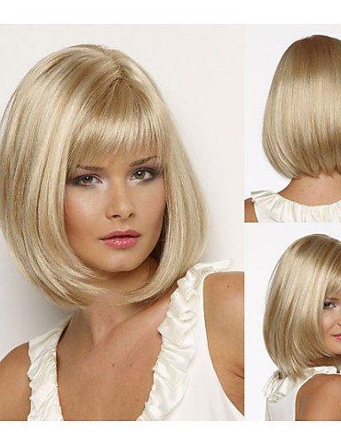 BBDM Bob perruques de cheveux synthétiques droite courte perruque blonde pour les femmes perruques naturelles avec frange , multicolor