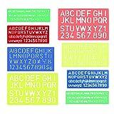 FOGAWA Buchstaben Schablonen 2 Sets Schablone Zahlen Schrift Verschiedene Farben und Größe Alphabet Schablone für Kinder Malerei Scrapbooking DIY Handwerk