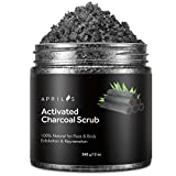 Aprilis Activated Charcoal Body & Facial Scrub, Natural Skin Care, Deep Cleansing & Exfoliation, Minimizes Pores, Reduces Acne Scars, Blackheads & Improves Complexion, 12 oz