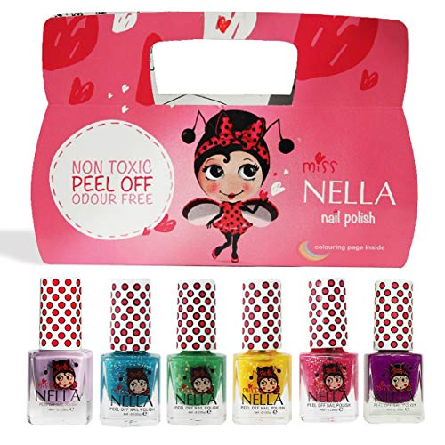 Miss Nella Weihnachtsglitter Special Glitzer - 6er Pack Kinder Nagellack mit Peel-off-Formel auf Wasserbasis Non-Toxic - Glitter Weinachtssets - Nagellack für Kinder -