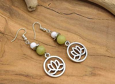 ETHNICFEATHER -Boucles d'oreilles fleur de lotus, bijoux zen, bijoux bouddhiste, cadeau femme, bijoux fleur, boucles oreilles perles gemmes