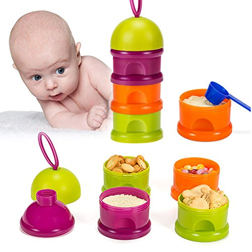 Milchpulver Portionierer, Luerme Baby Milk Powder Formel Dispenser 3 Schicht Milchpulver Lagerung Behälter mit Griff