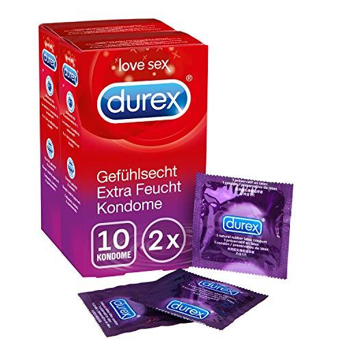 Durex Gefühlsecht Extra Feucht Kondome - Hauchzarte Kondome für intensives Empfinden - mit extra Gleitgelbeschichtung - 2er Pack (2 x 10 Stück)