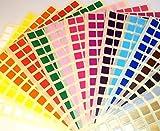 Audioprint Ltd. Adesivi Colorati Quadrati 10mm In tinta Unita per Etichette, ID, Prezzi - 10mm, Misto