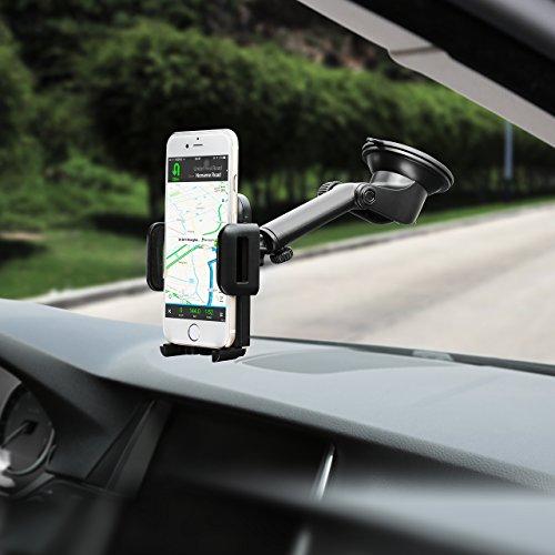 Mpow 【Versione AGGIORNATA】 Supporto Smartphone per Auto Culla Regolabile per Cruscotto Dashboard Parabrezza Porta Cellulare per Molti Smartphone