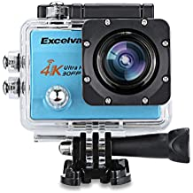 "Excelvan Q8 - 4K WIFI Camara Deportiva de Accion (Gran 2.0"" HD Pantalla, 16Mp, 170º Gran Angular, Impermeable Sumergible hasta 30m, USB HDMI, Multiples Accesorios para Deportes y Actividades), Azul"