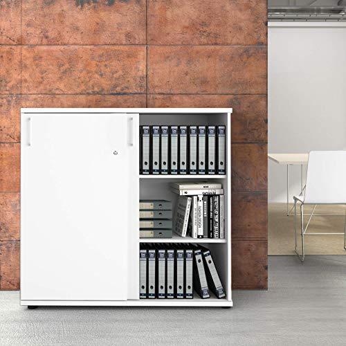 Uni Aktenschrank 1,2M abschließbar 3OH Weiß Büroschrank Schiebetürenschrank -