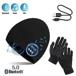 TAGVO AYPOW Bluetooth Beanie mit Touchscreen Handschuhen Set, Winter Warm Gestrickte Drahtlose Bluetooth Headset Musik Hut für Laufen Skifahren Wandern