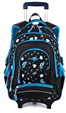 Trolley Rucksack,Coofit Kinderkoffer Kindertrolley Schultrolley Mädchen Trolley Rucksack mit Rollen Rucksacktrolley Schulrucksack Schulranzen Trolley Tasche (Schwarz mit Blau) (Schwarz mit Blau)