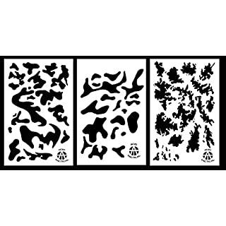 Acid Tactical 3Pack - 23x35cm Camouflage Airbrush Spray Paint Stencils Auto Boat Quad (Army, Stripe Digital, TACS)