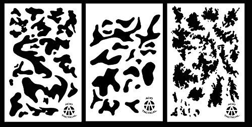 Ácido táctico 3 Unidades – 23 x 35 cm Camuflaje aerógrafo Pintura Stencils Auto Boat Quad (Armada, Rayas Digital, TACS)