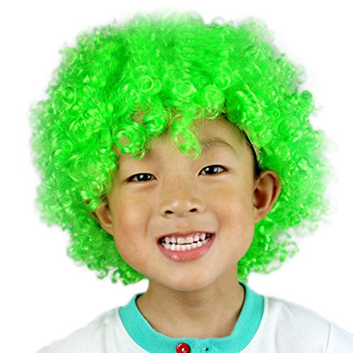 Fan-prop (Luckhome Perückelockig Kurze Perücke Kunsthaar Party Disco Lustige Afro Clown Haar Fußball Fan-Kinder Maskerade Prop Karneval Kopfschmuck Explosion Kopf Dress Up Fan(G))