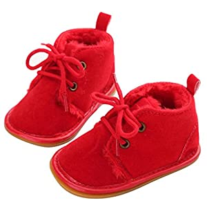Baby Winter Boots Mingfa Warm Thick Toddler Boy Girls Fur Snow Booties Lace Up Crib First Walking Shoes for 0-18 Month