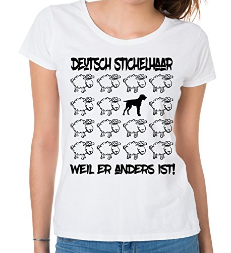 Siviwonder WOMEN T-Shirt BLACK SHEEP - DEUTSCH STICHELHAAR Jagd Jäger - Hunde Fun Schaf Weiß
