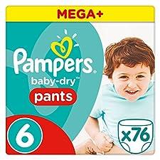 Pampers Baby Dry Pants Hoeschenwindeln besitzen Micro Pearls, die Feuchtigkeit festhalten und Ihr Baby bis zu 12 Stunden lang angenehm trocken halten. Windelwechseln wird jetzt noch leichter, Hoeschenwindel einfach anziehen, zum Ausziehen an den Seit...