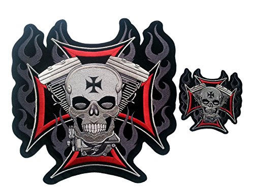 win V2 Biker Chopper Motorcycles Outlaw Patch Set of 2 ()