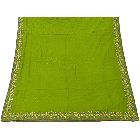 Vintage Dupatta lungo India sciarpa ricamato Georgette tessuto verde velo hijab