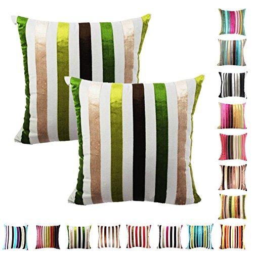 Queenie®-2PCS Chenille Stripe Dekorative Kissenbezug Kissenbezug für Sofa Überwurf Kissen Fall erhältlich in 15Farben & 5Größen, Baumwolle, 055, 22