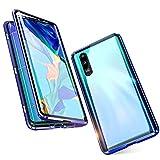 Jonwelsy Funda para Xiaomi Mi 9, 360 Grados Delantera y Trasera de Transparente Vidrio Templado Case Cover, Fuerte Tecnología de Adsorción Magnética Metal Bumper Cubierta para Xiaomi Mi 9