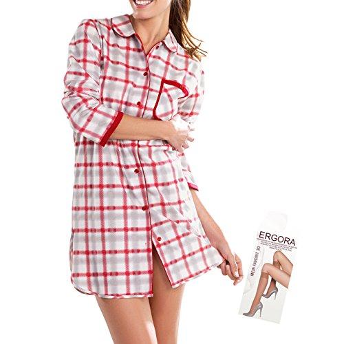 Cybele Damen langer Arm Schlafshirt Nachthemd 100% Cotton Gr. 48 Sleepshirt Nachtwäsche 85 cm + 1 Paar Feinkniestrümpfe (Kariertes Gewand Blau)
