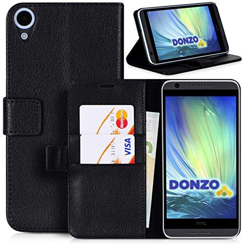 Handyhülle | Tasche | Cover | Case für das HTC Desire 820 von DONZO in Schwarz Wallet Structure als Etui seitlich aufklappbar im Book-Style mit Kartenfach nutzbar als Geldbörse