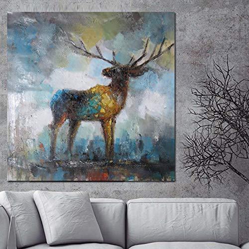 Drucken Aquarell Künstlerische Deer Elk Abstrakte Malerei Auf Leinwand Tier Pop Art Moderne Cuadros Decor Wandbild Für Wohnzimmer 30x30 cm Ungerahmt PP1866