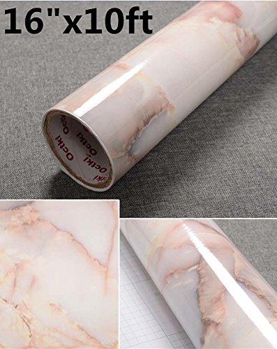yancorp 10ft Bernstein Rosa Marmor Kontakt Papier Abnehmbare Tapete selbstklebend Marmor Aufkleber Abziehen und Aufkleben Duett Küche Fliesen zinntheken Möbel Regal rutschsicher