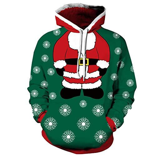 ZXTXGG Herren 3D Hoodies Schneeflocke schwimmende Santa Claus Körper DIY Kopf Muster Digitaldruck Kapuzenpullis Liebhaber Hoodies(XXXL,Grün) -