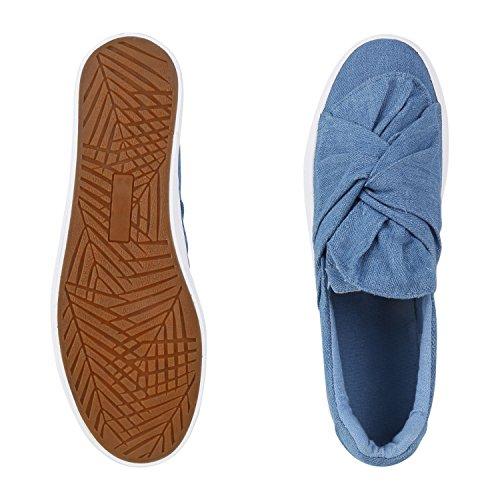 Modische Damen Sneakers | Bequeme Slip-ons| Funkelnde Glitzerapplikationen | Angesagte Plateausohle | Gr. 36-41 Hellblau Schleife