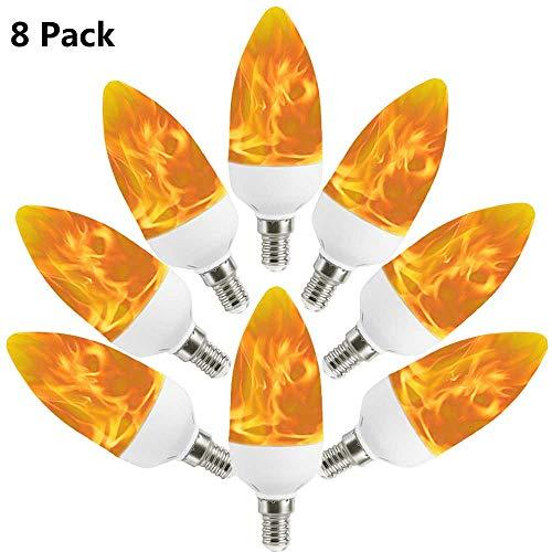 e, Auccy E14 LED Flammeneffekt Glühbirne Kandelaber Birne Flamme Glühbirne 100LM wahre Feuer Dekorative Licht für Hochzeit/Restaurants/Party/Festival, 8 Pack ()