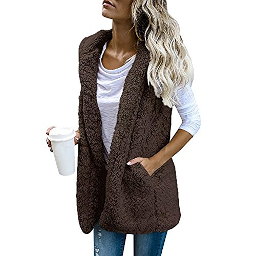 iHENGH Damen Warm Vest,Women Winter Hoodie Outwear LäSsigen Mantel Faux Fur Zip Up Sherpa Jacke Strickjacke Tops -
