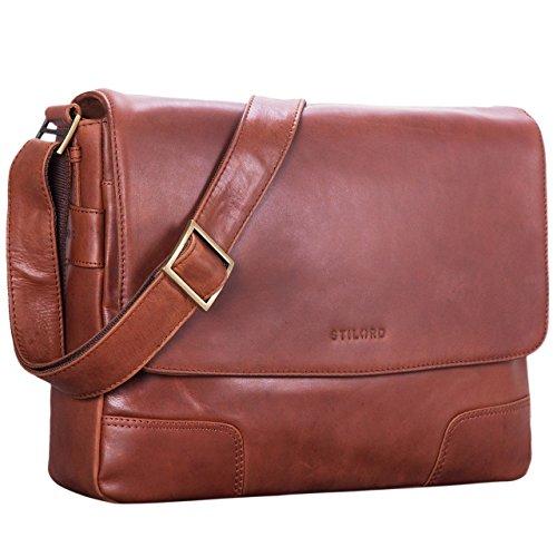STILORD \'Miro\' Messenger Bag Leder Umhängetasche 14 Zoll Vintage Design für Herren Damen Uni Büro Arbeit Aktentasche DIN A4 Laptoptasche Echtleder, Farbe:Cordoba - braun