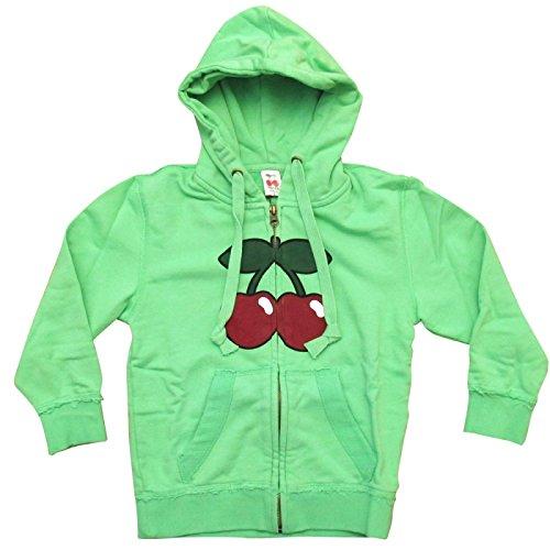 Pacha: Felpa con cappuccio e zip Bambini con Ciliegia Basic Logo - Lime, 4-5 anni