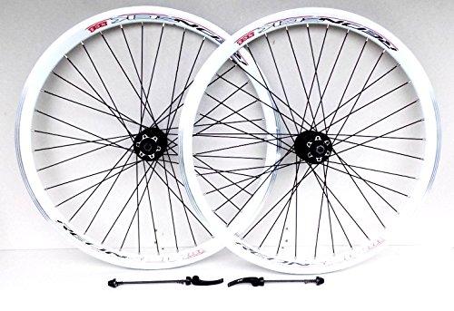 26-Zoll Rad für Mountain-Bike weiße Scheibenbremse und Bremsscheiben für V-Bremse, 7-, 8-, 9-, 10-Gang Kassettentyp, Redneck XC1 doppelwandig, V-förmige Felgen (66 cm (26 Zoll), vorne und hinten)