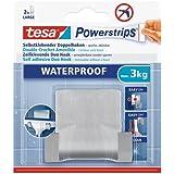 tesa Powerstrips Waterproof Zelfklevende Duo Haken Metaal, draagkracht tot 3 kg, verwijderbaar