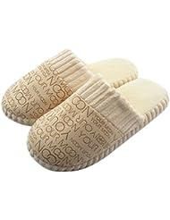 Zapatos Hombres Mujeres Caliente Suave de Interior de Algodón Casa Zapatillas Antideslizantes