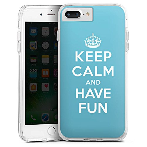 DeinDesign Apple iPhone 7 Plus Bumper Hülle Transparent Bumper Case Schutzhülle Keep Calm Fun Phrase